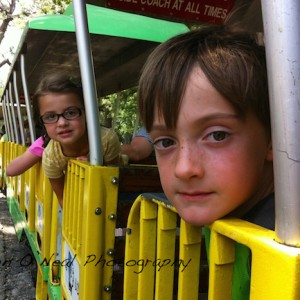 Two Kids on the Ft. Worth Zoo Train | Ft. Worth, Texas Photographer